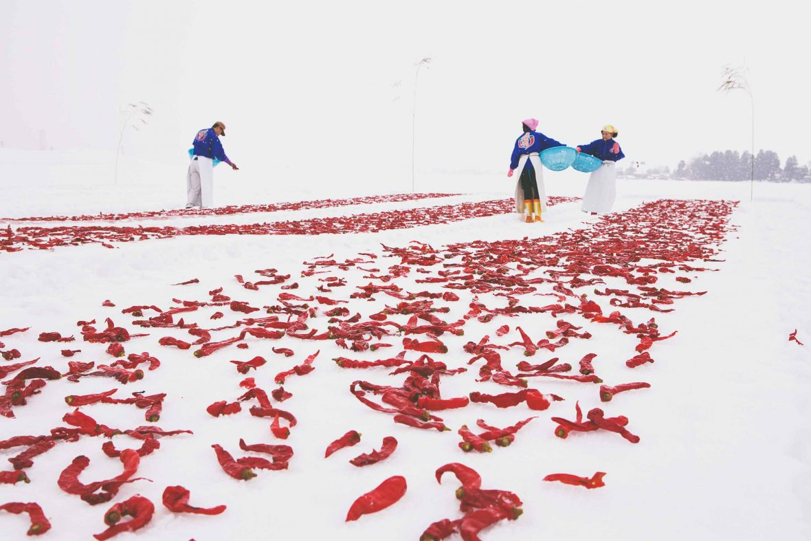 Employees of the Kanzuri factory in Niigata, Japan, lay chillies out in the snow.