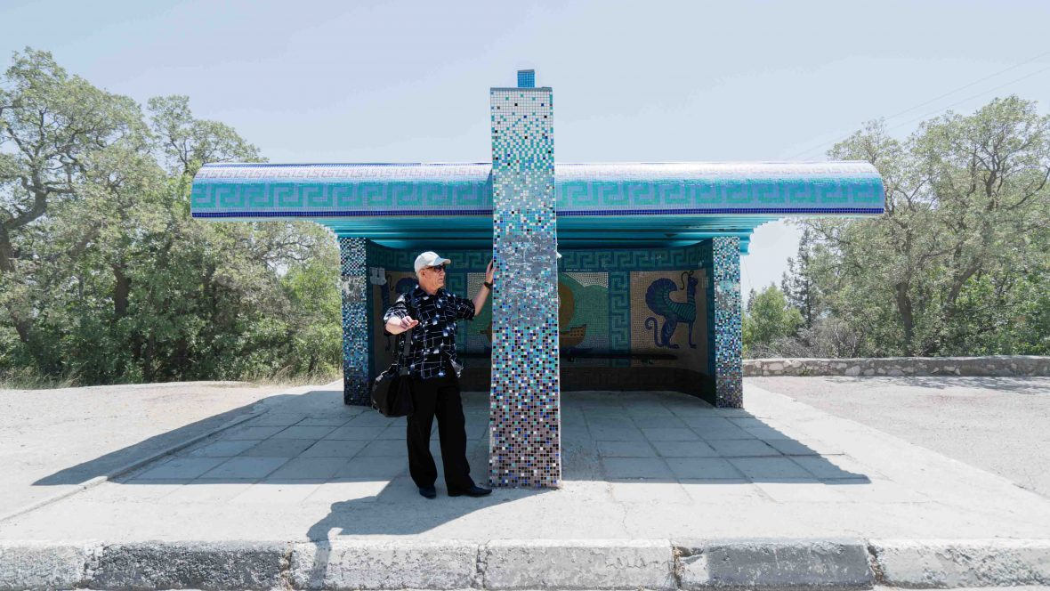 A bus stop in Olyva, Crimea.