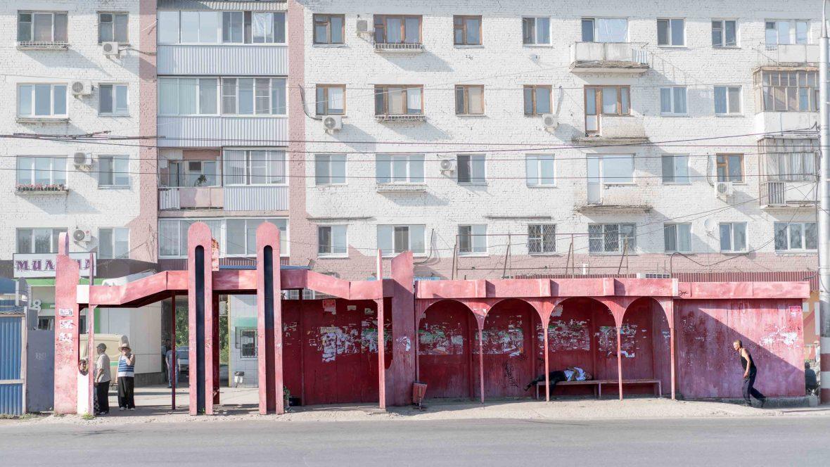 A bus stop in Balakovo, Russia.