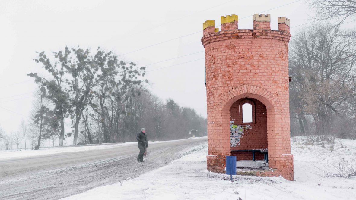 A bus stop on Dubno south M19 in Ukraine.
