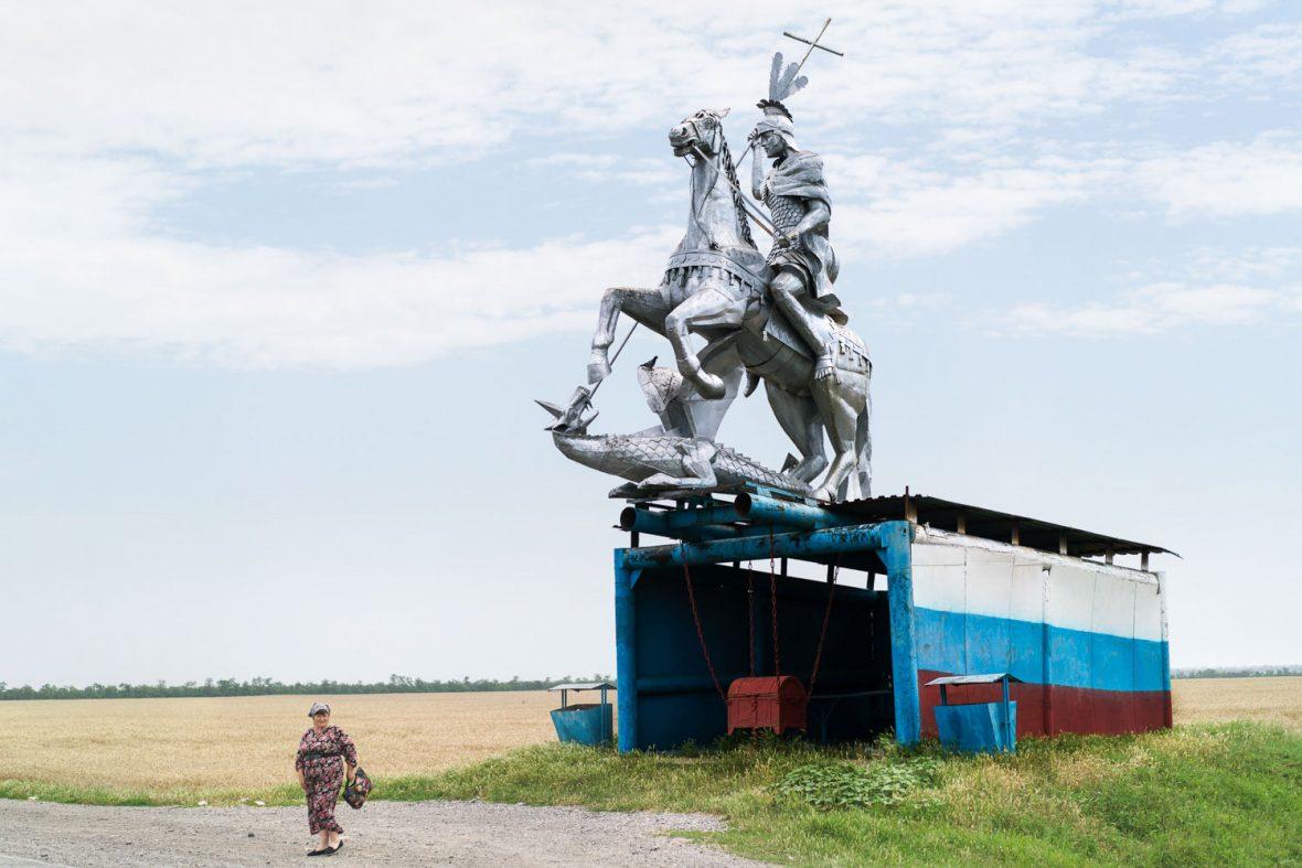 A bus stop in Rostovanovskoye, Russia.