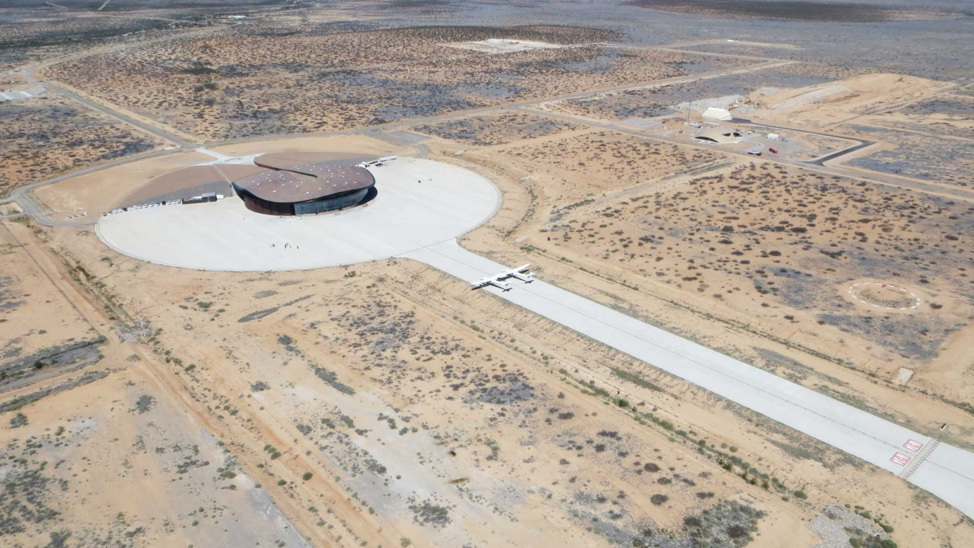Aerial view of Virgin Galactic's Spaceport America n 27 square miles of desert landscape in New Mexico, Spaceport America, their human spaceflight HQ and center of flight operations.