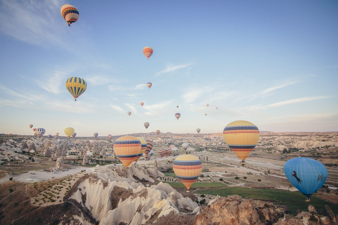 Hot-air ballooning over Cappadocia, Turkey.