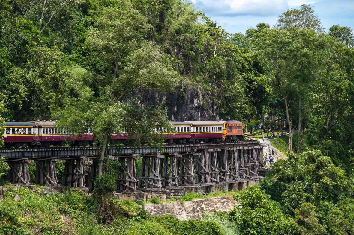 Thai-Burma Railway (Death Railway) by the River Kwai in Kanchanaburi, Thailand.