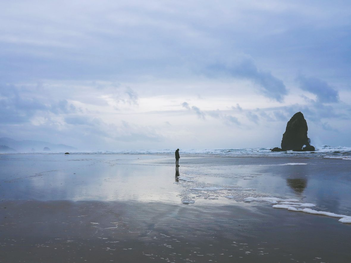 Walking on beach in Oregon.