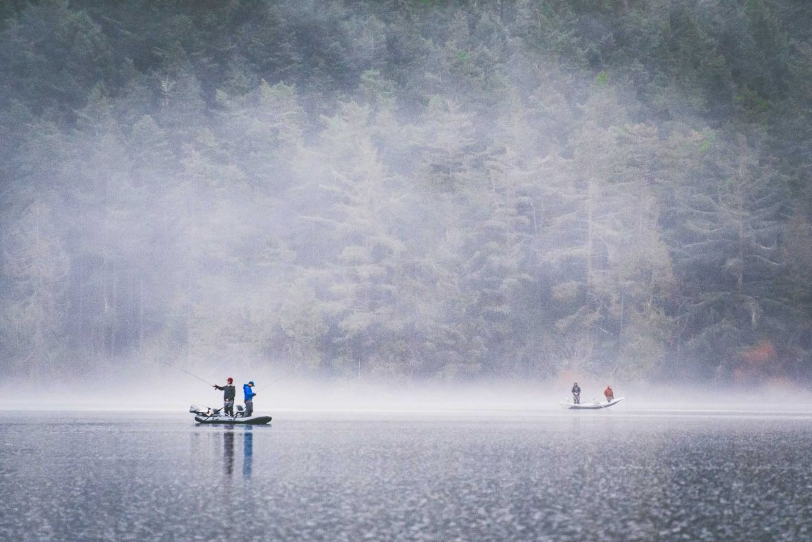 Fishing on Lake Campbell in Washington, USA.