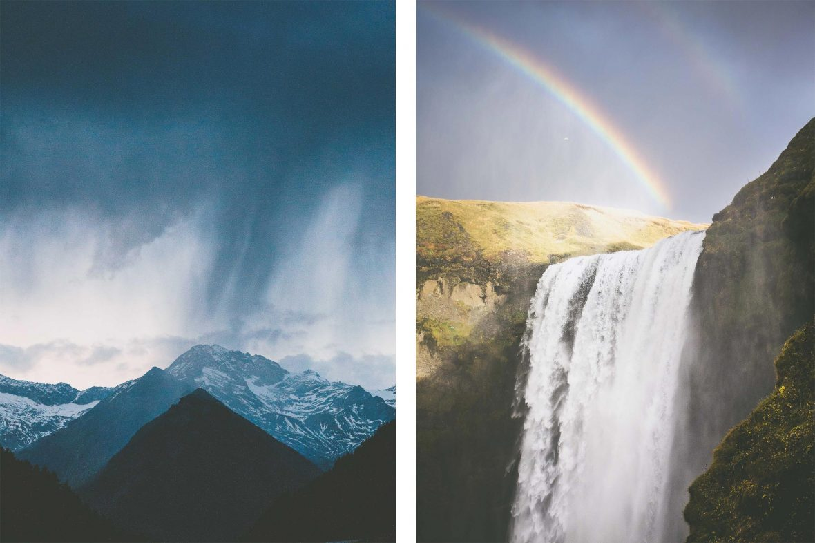 Left: Rain and cloud cover a mountain; Right: A rainbow falls over Skogafoss falls in the south of Iceland.