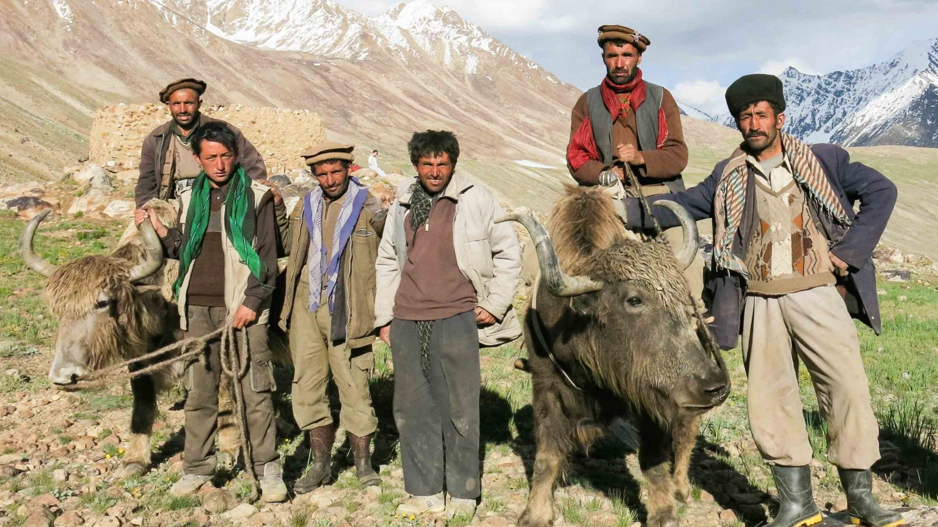 Wakhan is home to around 10,000 nomadic people of the Wakhi and Kyrghiz tribes; here, a group poses with their yaks.