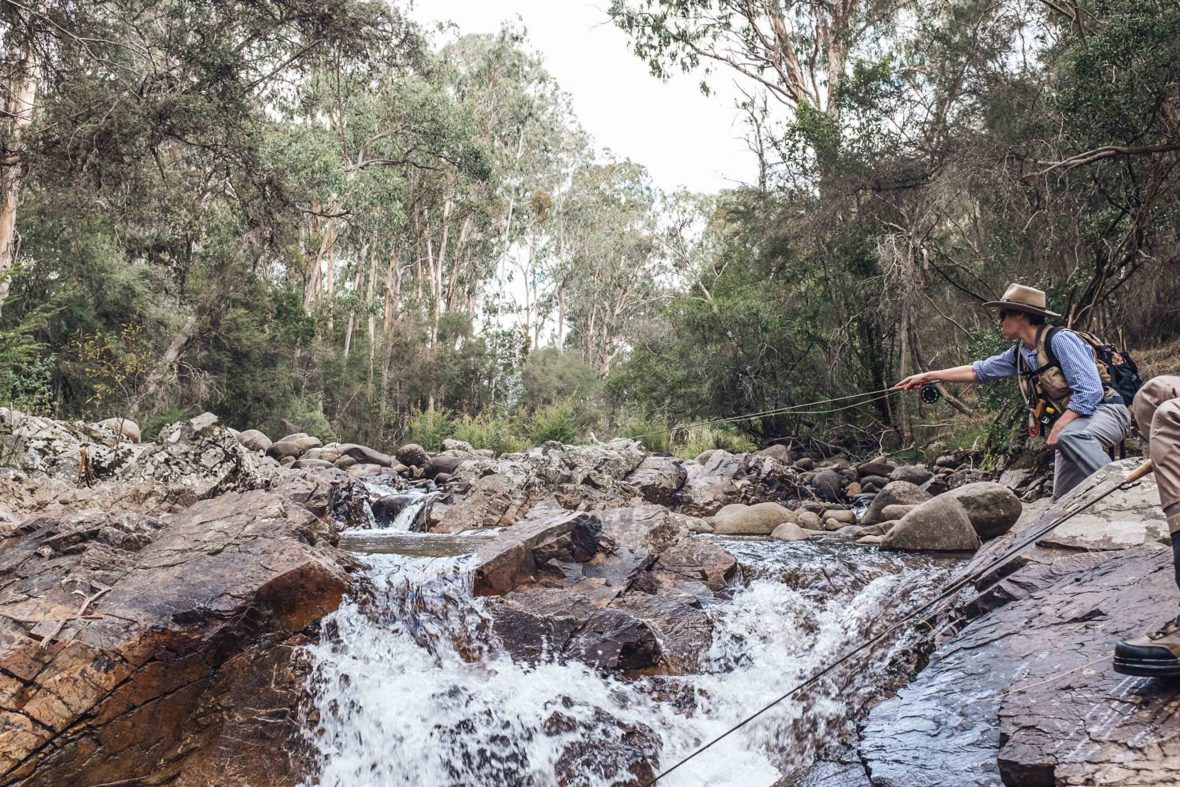 Fishing guide Charle May casts into the Rubicon River in Victoria, Australia.