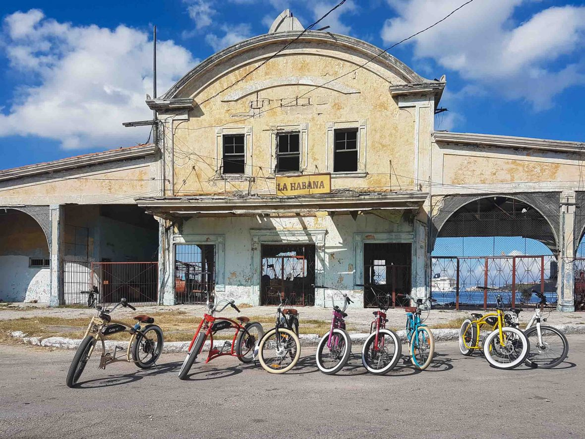 A row of e-bikes at Havana station, Cuba.