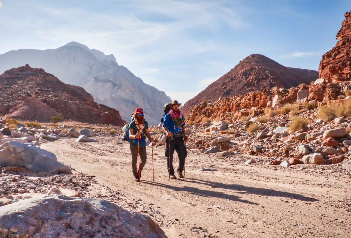Leon McCarron walks with fellow adventurer Sean Conway through the mountains between Petra and Wadi Rum in Jordan.