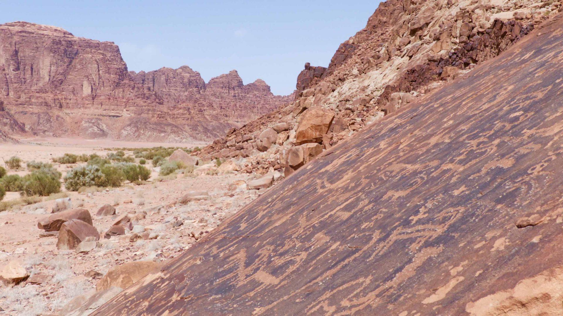 Petroglyphs in Wadi Rum, Jordan.