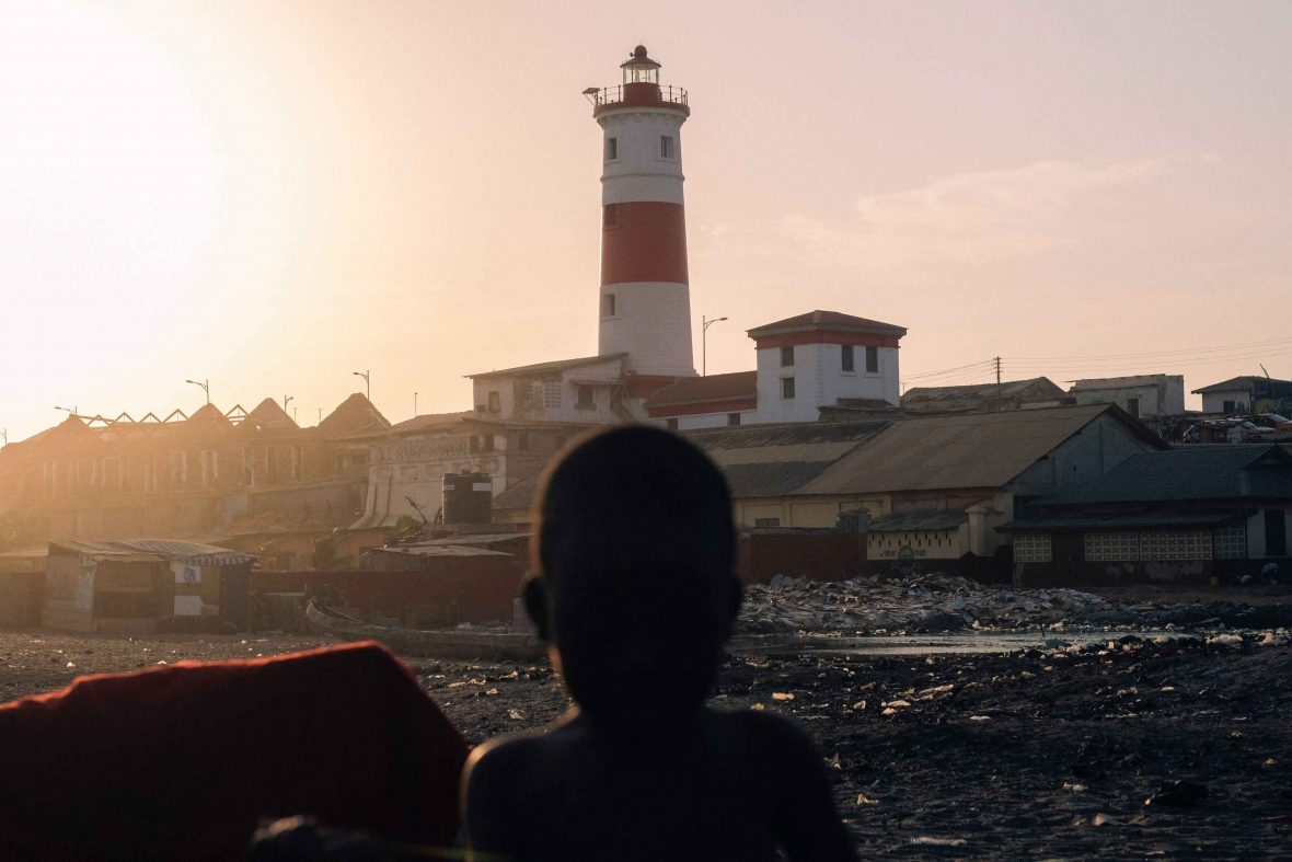 Jamestown's lighthouse at sunset, Accra, Ghana.