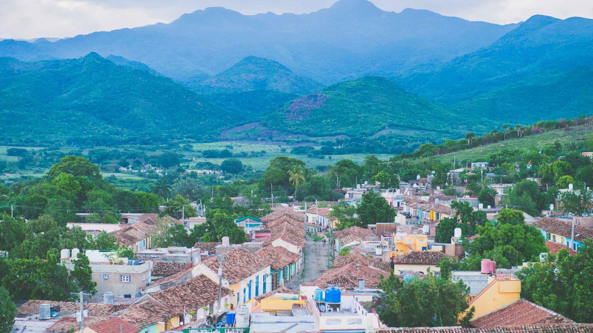 Looking out at Valle de los Ingenios from the town of Trinidad in Cuba.