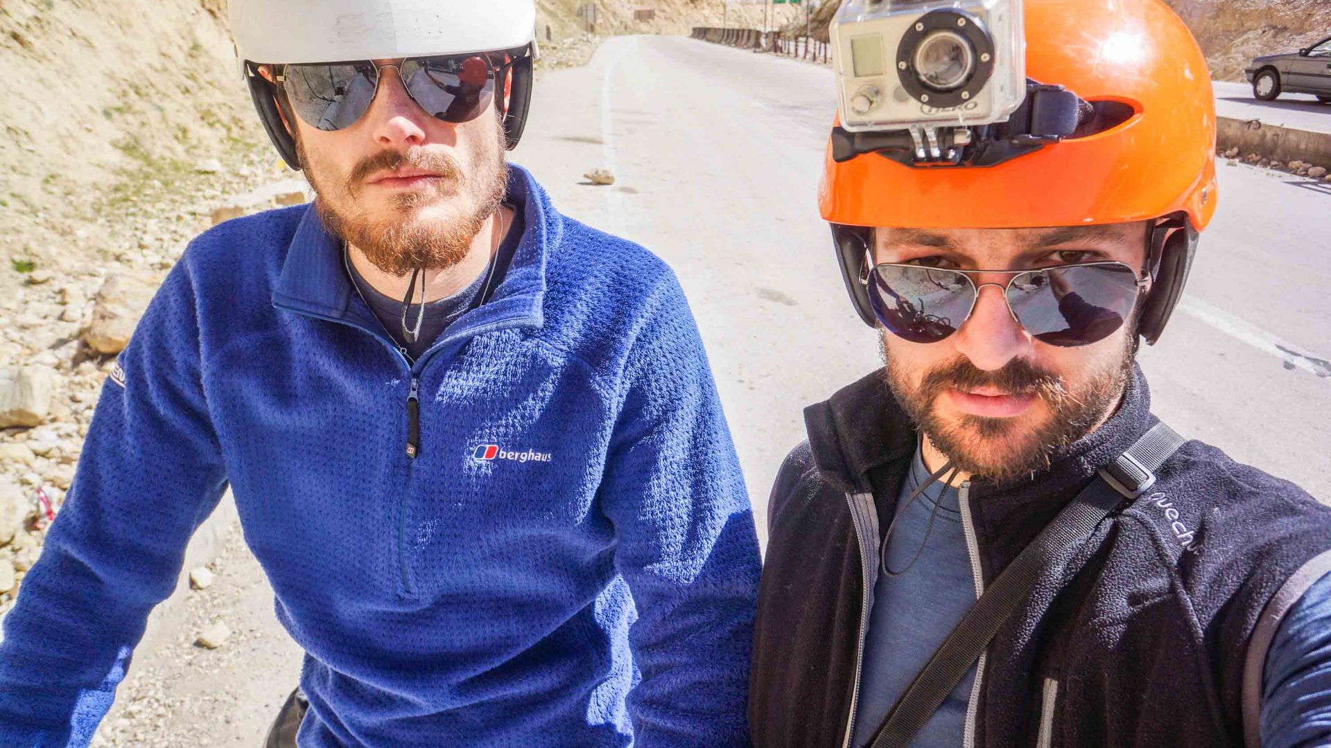 GoPro attached to helmet while cycling in Iran.