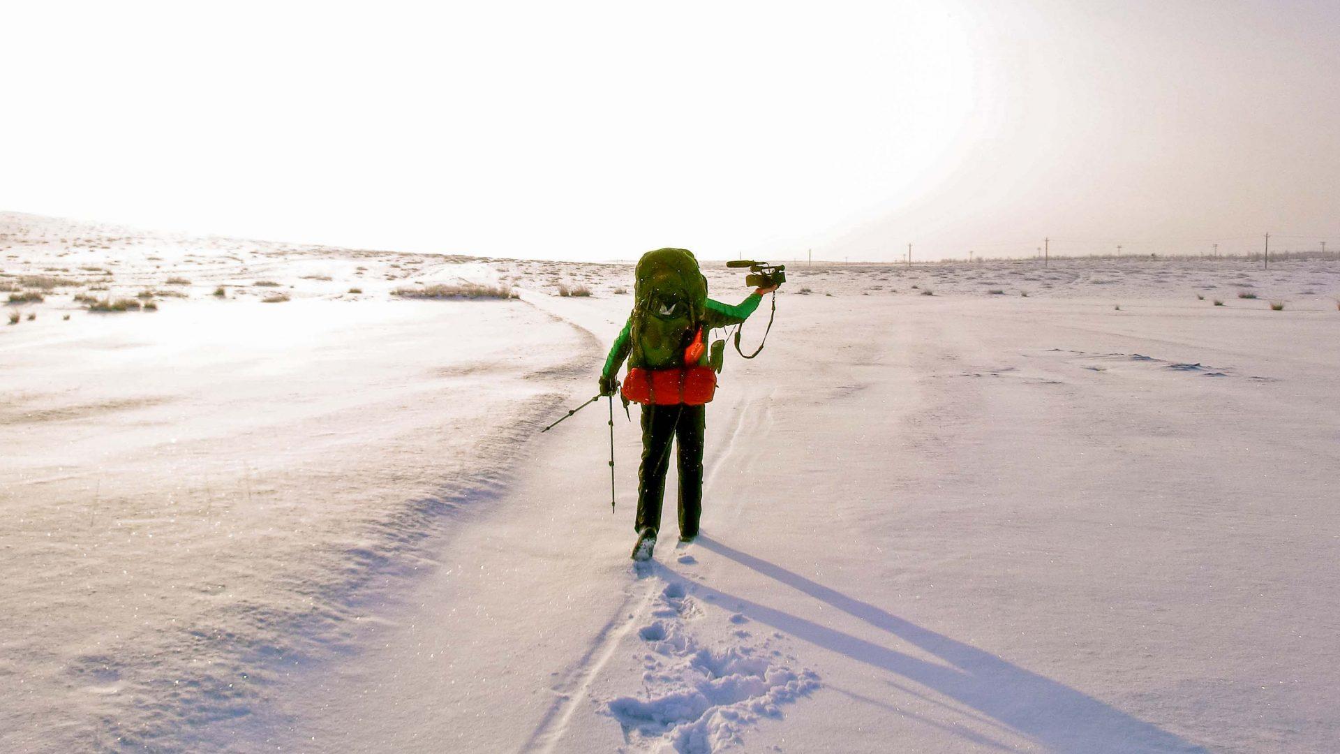 Self-filming in the Gobi desert, inner Mongolia, China,