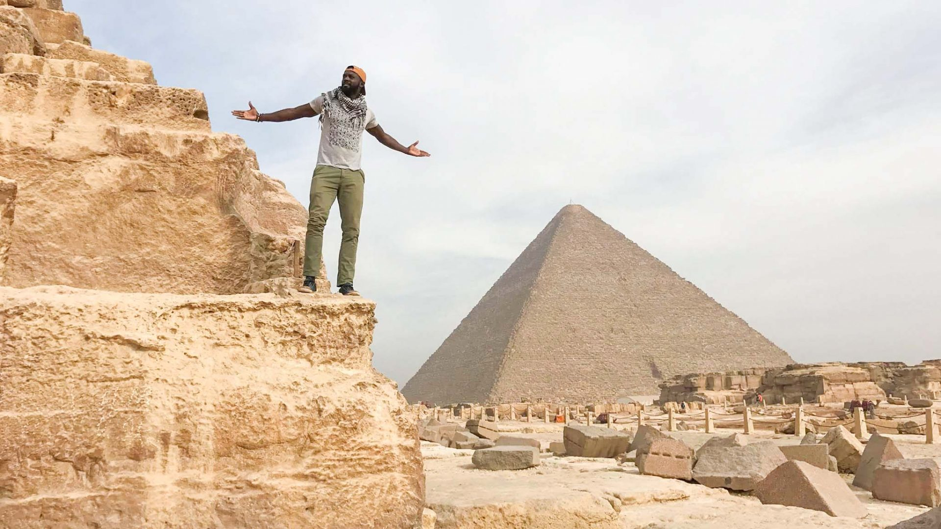 Mario Rigby at the Giza Pyramids in Egypt where he finished his walk across Africa.