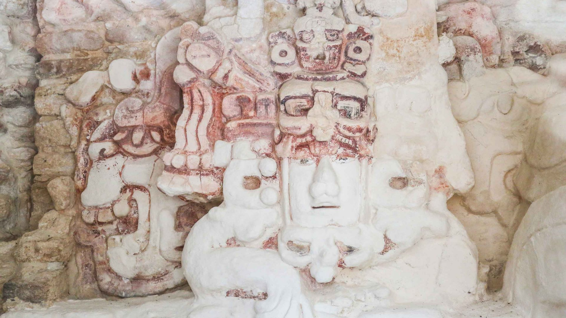 Detail of some of the Becan ruins in the Yucatan Peninsula, Mexico.