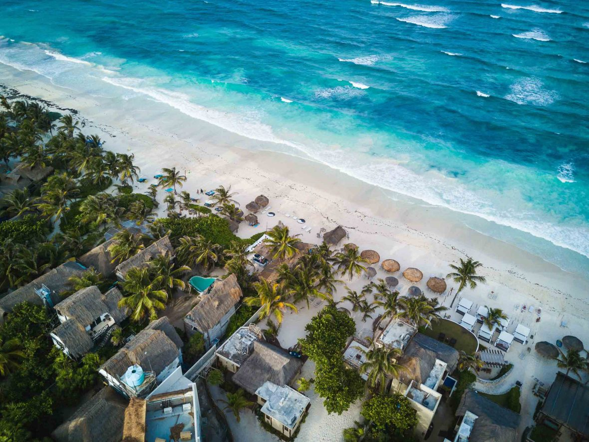 An aerial view over Tulum, Mexico.