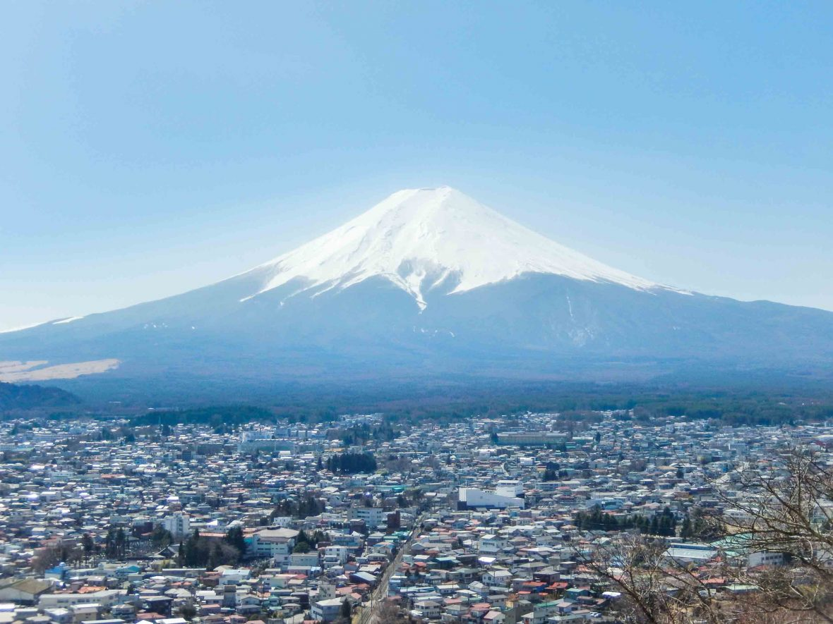 Mount Fuji as seen from Chureito Pagoda, Yamanashi Prefecture, Japan.