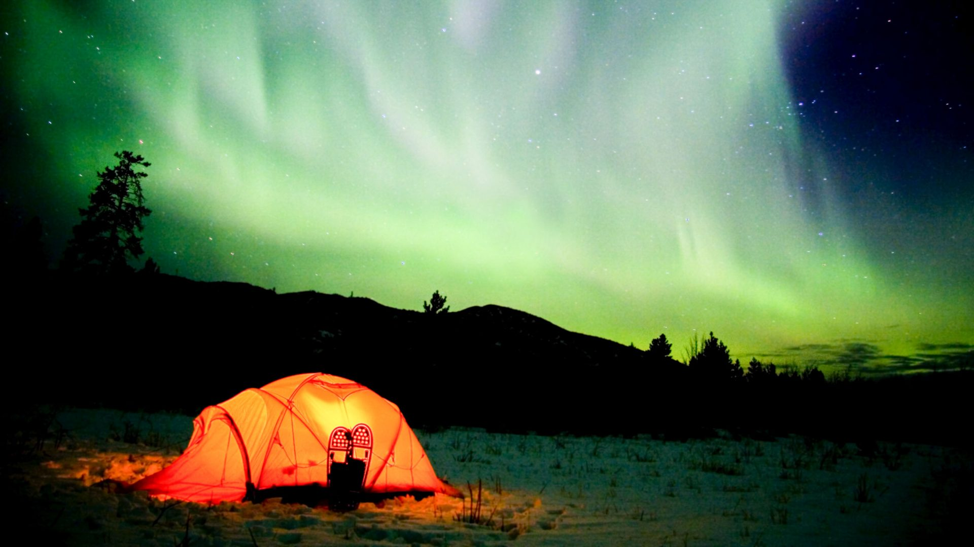 Camping under the northern lights in the Yukon.
