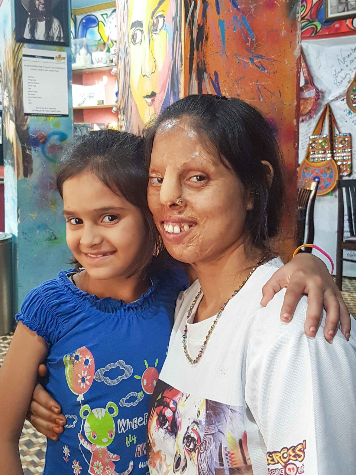 Shabnam and her daughter at Sheroes Hangout in Agra, India.