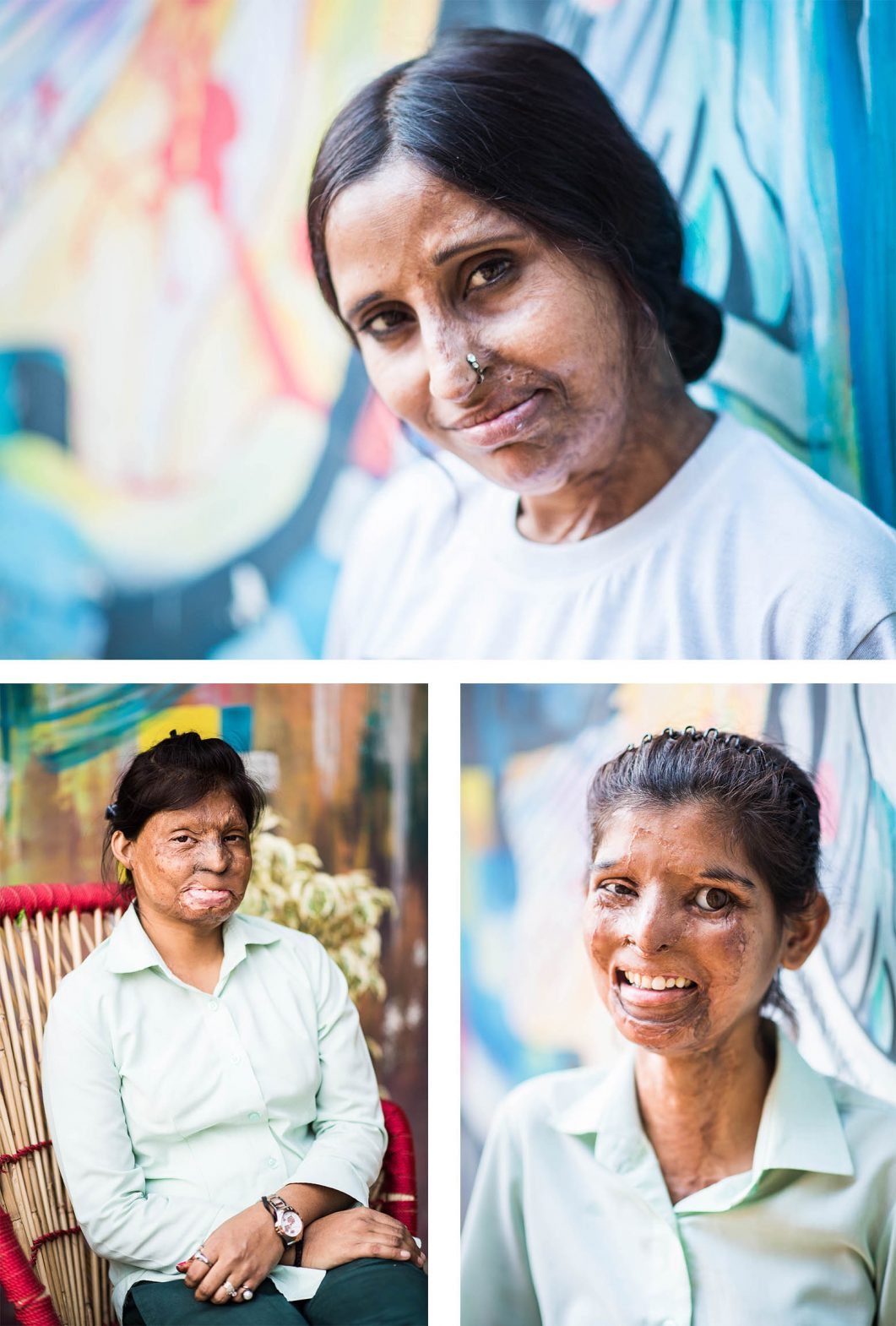 Portraits of staff at Sheroes Hangout, Agra, India.
