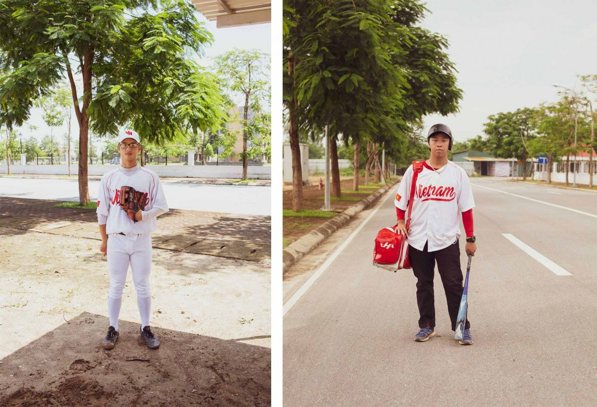Members of the Hanoi Fishanu baseball team pose for their portrait.