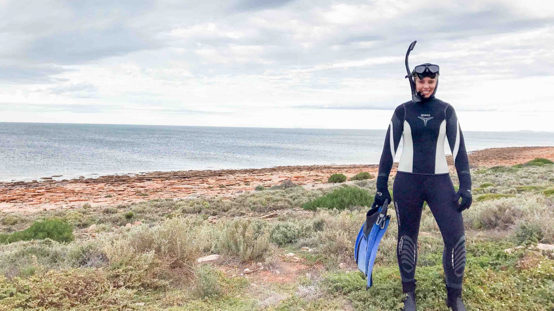 Sarah Reid, about to snorkel with the cuttlefish at information boards in the Upper Spencer Gulf Marine Park in South Australia.
