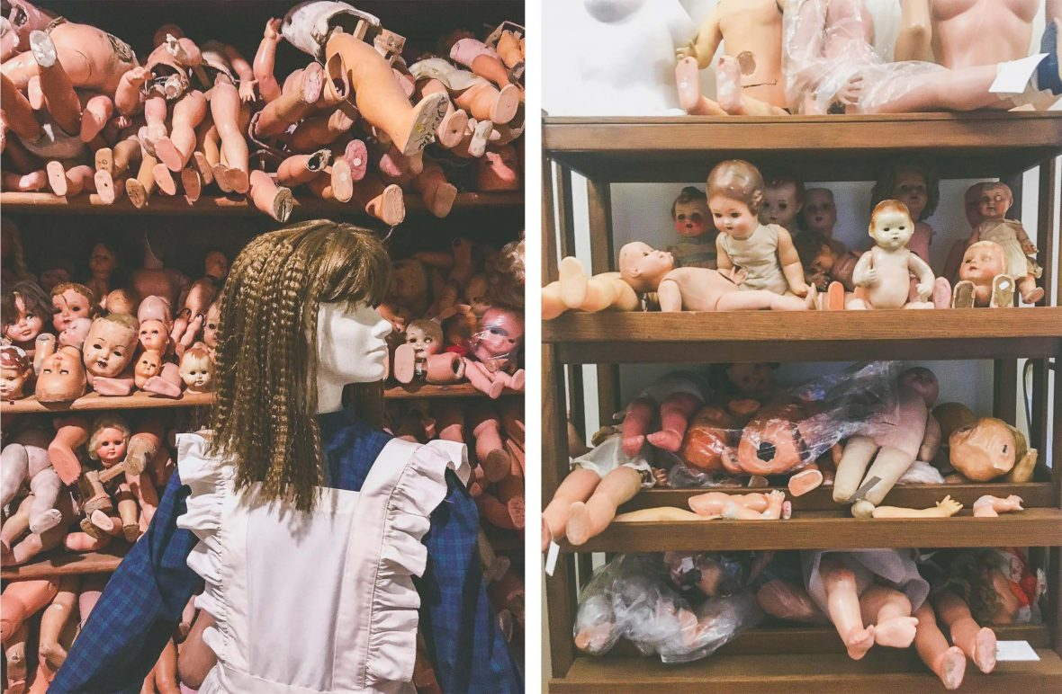 Doll body parts at Hospital de Bonecas (doll hospital), in Lisbon, Portugal.
