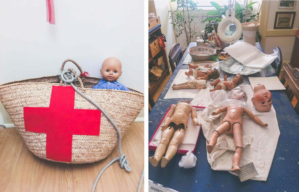 A repaired doll sits alongside dolls in the midst of being repaired at the doll hospital, Hospital de Bonecas, in Lisbon, Portugal.