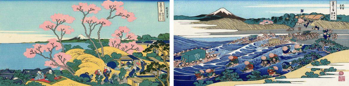 Paintings from Japanese artist Hokusai's 'Thirty-Six Views of Mount Fuji'.
