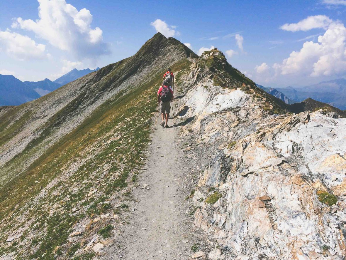 Writer Jon Arlan hikes with Colin Brigham in the French Alps.