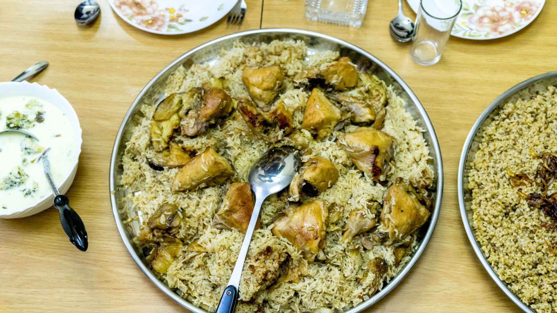 A traditional upside-down chicken and rice dish called Maklouba served at Galsoum's Kitchen.