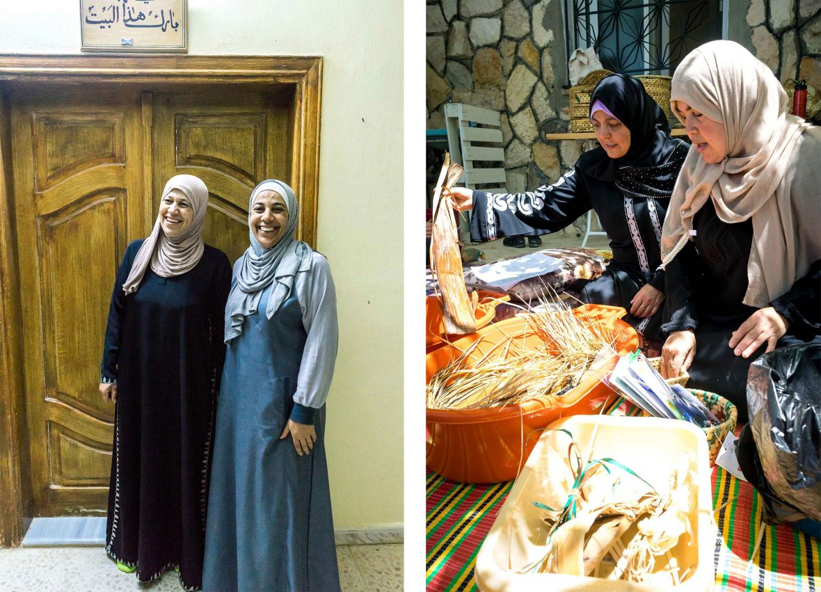 Left: Um Sulaiman's home, Galsoum's Kitchen, where she prepares home-cooked feasts for travelers; Right: sing banana leaves, palm fronds, and straws, Alia and Um Hani teach travelers how to make traditional baskets.