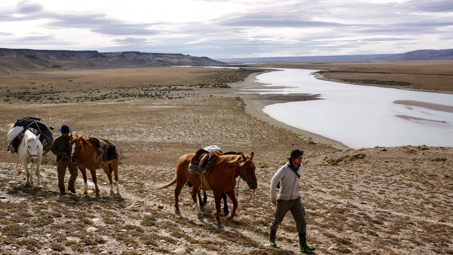 Following the Santa Cruz river in Patagonia with no phone signal.