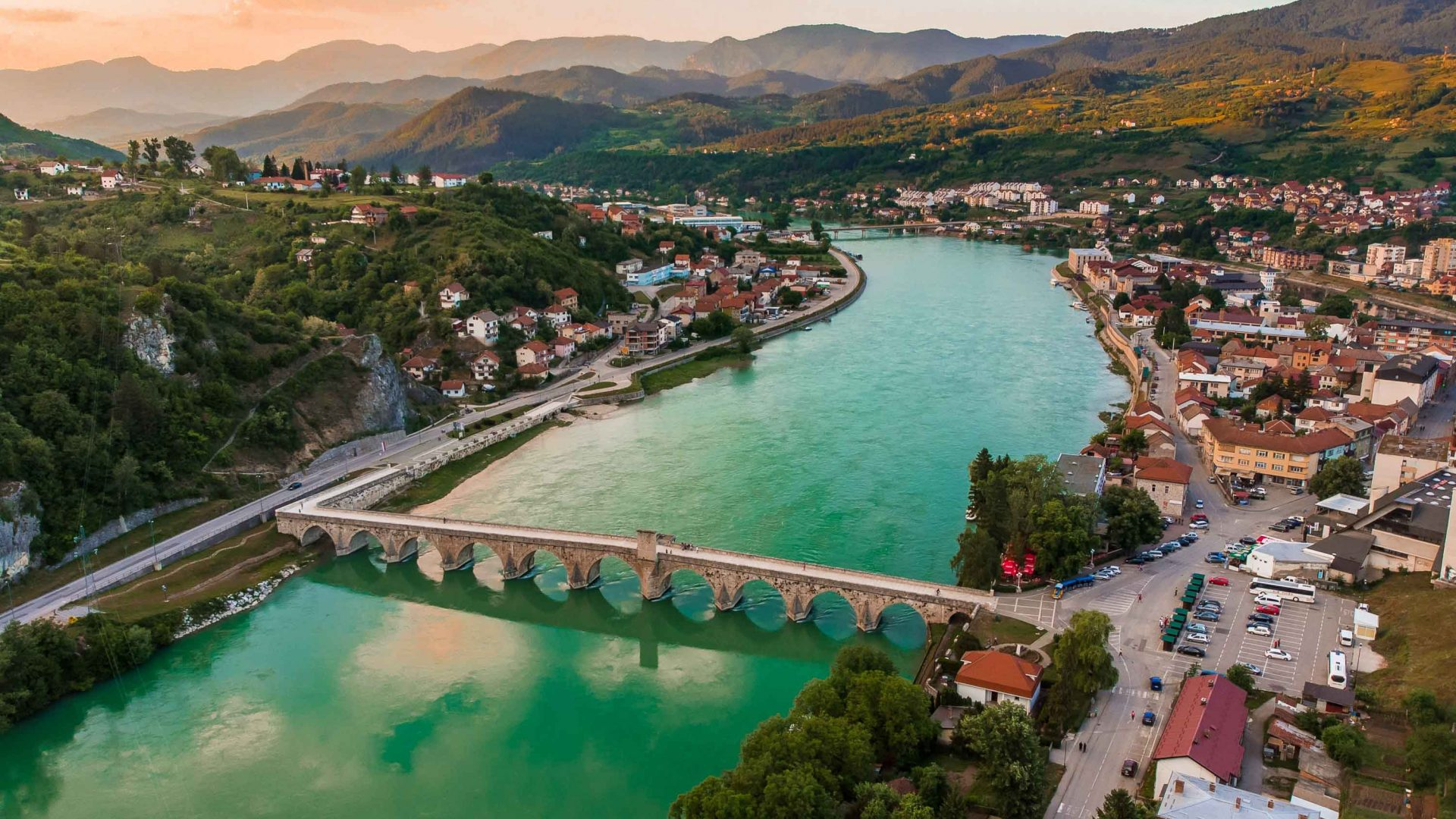 The town of Višegrad, a town on the Drina and the Rzav rivers in Bosnia and Herzegovina.