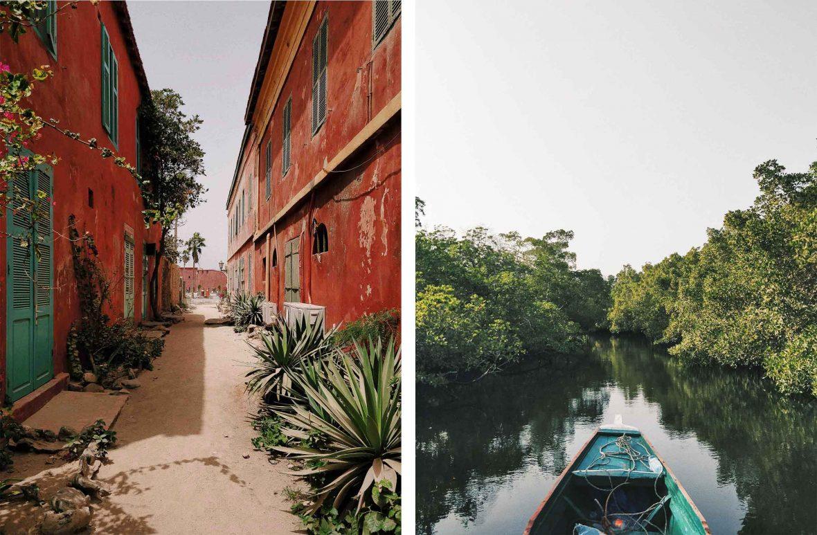 Left: The tiny. car-free island of Gorée, Senegal; Right: Sine Saloum Delta National Park, Senegal.