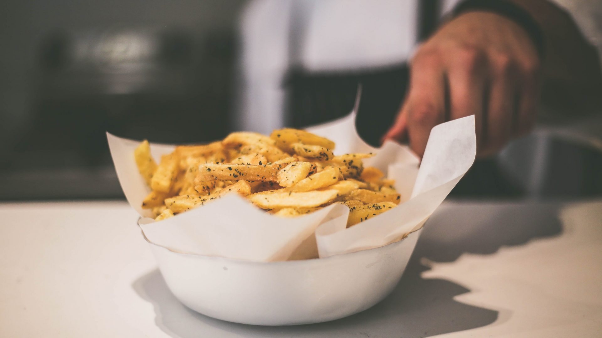 Athens street food: Hot chips make the perfect side for the fish served up daily at Zisis, Athens.