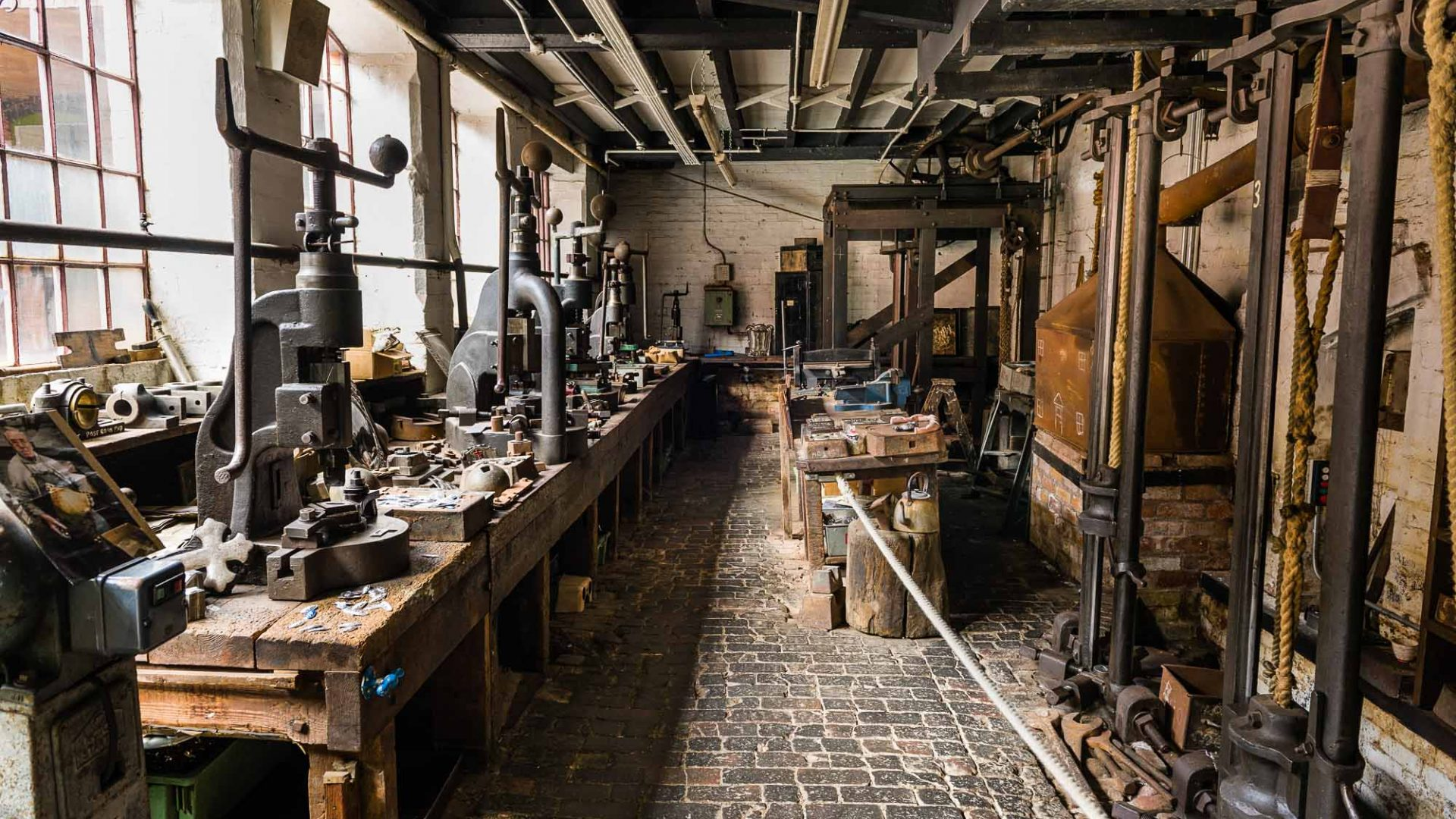 The interior of an old stamp workshop in Birmingham, UK.