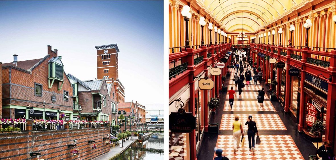 Birmingham's Great Western Arcade (right) is just one of many Victorian buildings that's taken on a new life in post-industrial Birmingham, while the once-grubby canals are now flanked by restaurants and shopping districts.
