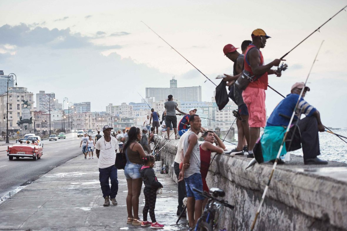 The Malecón in Havana, the stretch of sea wall which separates the ocean from the heat of the streets.
