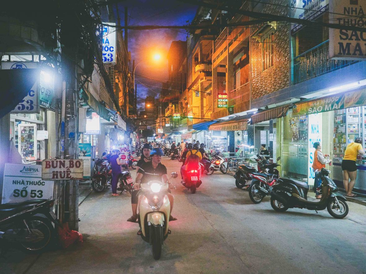Ho Chi Minh street food: Doan Van Bo alley in the heart of District Four where Vo Thi Ngoc Nhung's food cart Amen now thrives.