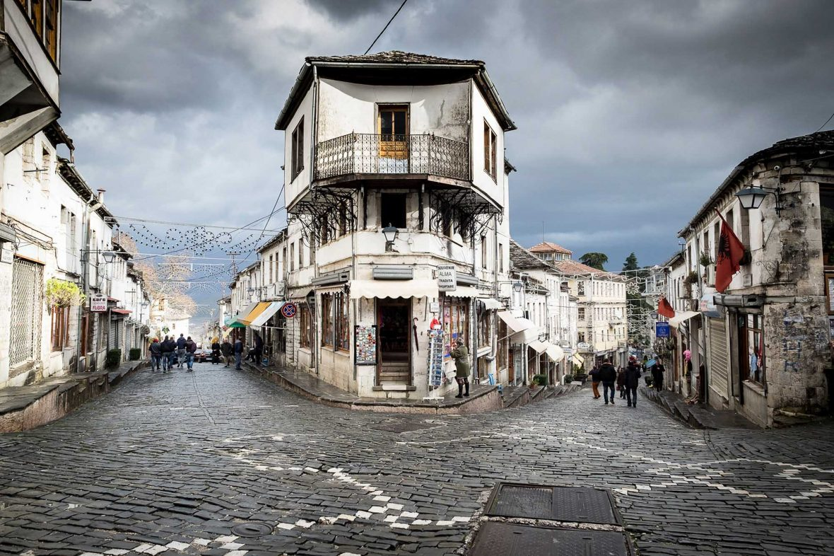 A street corner in the UNESCO town of Gjirokaster, southern Albania.