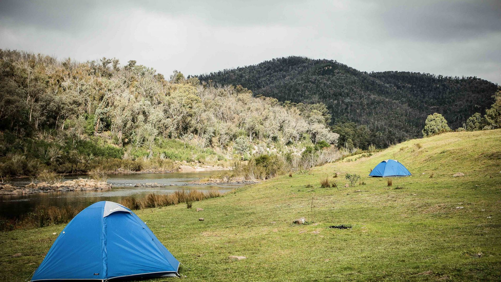 Tents set up in Snowy River National Park, Victoria, Australia.