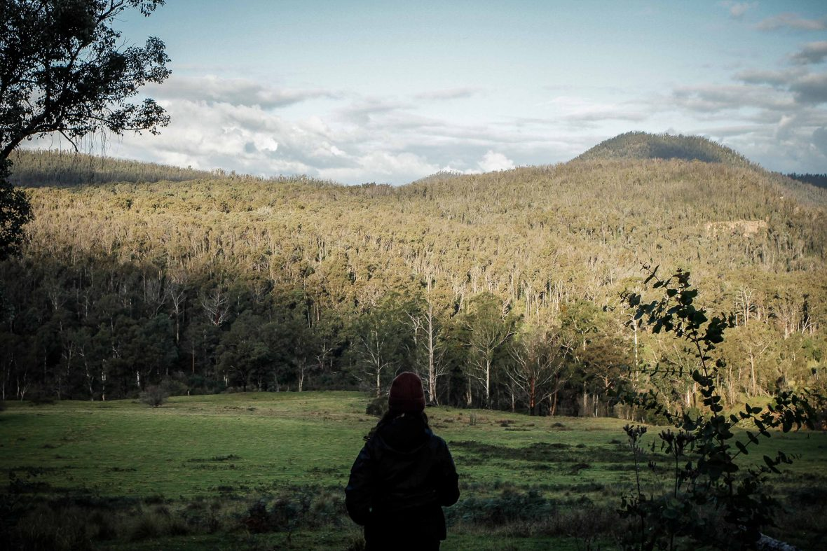 Janna surveys the scene at Snowy River National Park, Victoria, Australia.