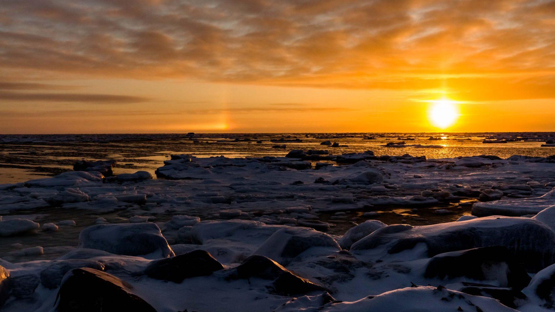 A beautiful sunrise over Hudson Bay, Manitoba.