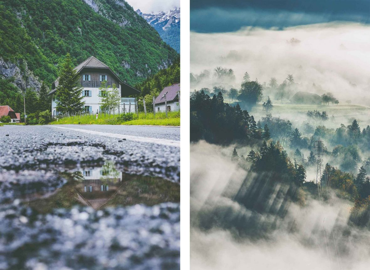 Left: A house in Trenta, Slovenia. Right: Trees shrouded in cloud in Bled, Slovenia.