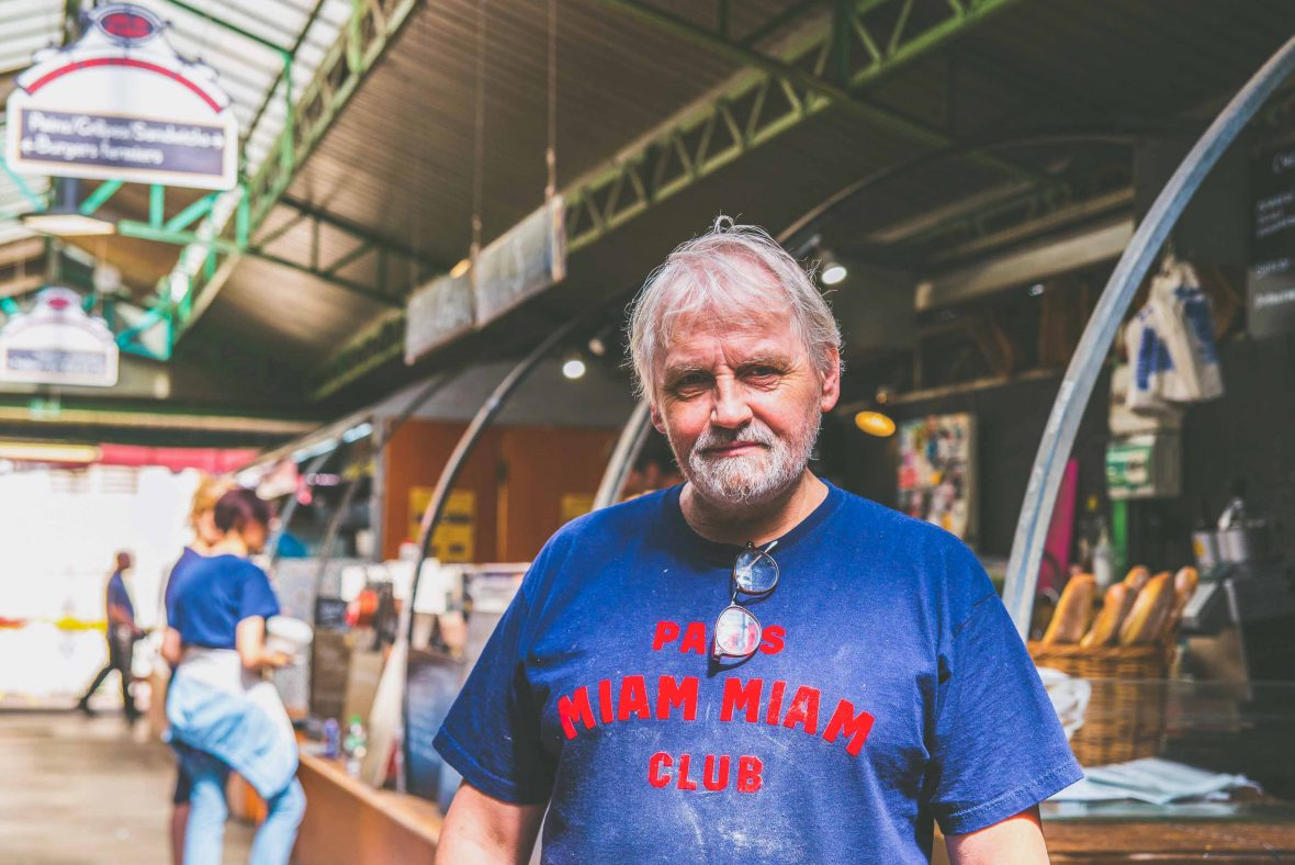 Paris street food: Alain Roussel at his stand in the historic Marché des Enfants Rouges, the oldest covered market in Paris, in the heart of the Upper Marais.