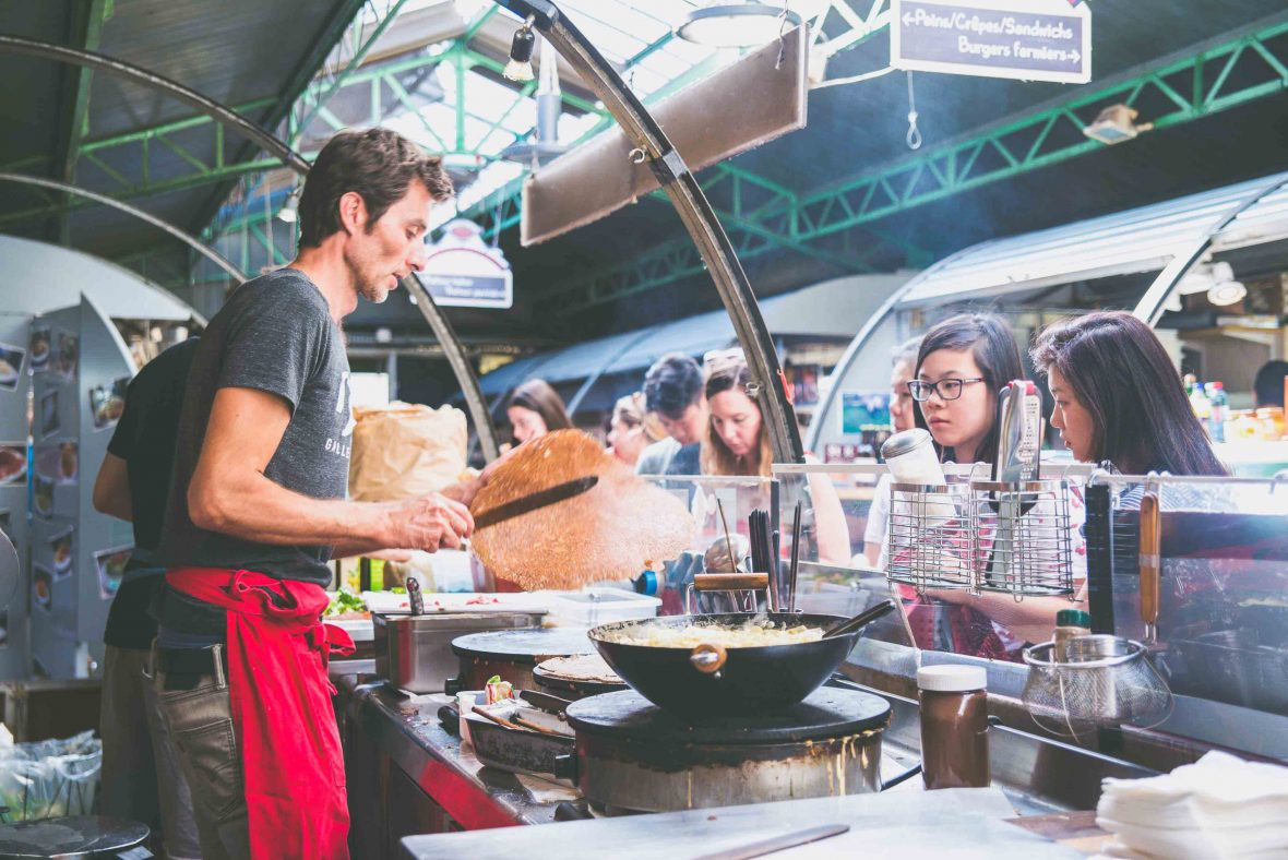 Paris street food: In the historic Marché des Enfants Rouges, the oldest covered market in Paris, Alain Roussel serves up his literally world-famous sandwiches, galettes and crêpes.